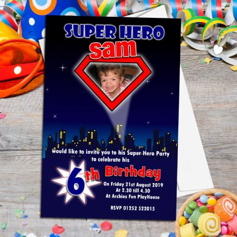 10 Persoanlised Superman Superheroes Birthday Party PHOTO Invitations N149